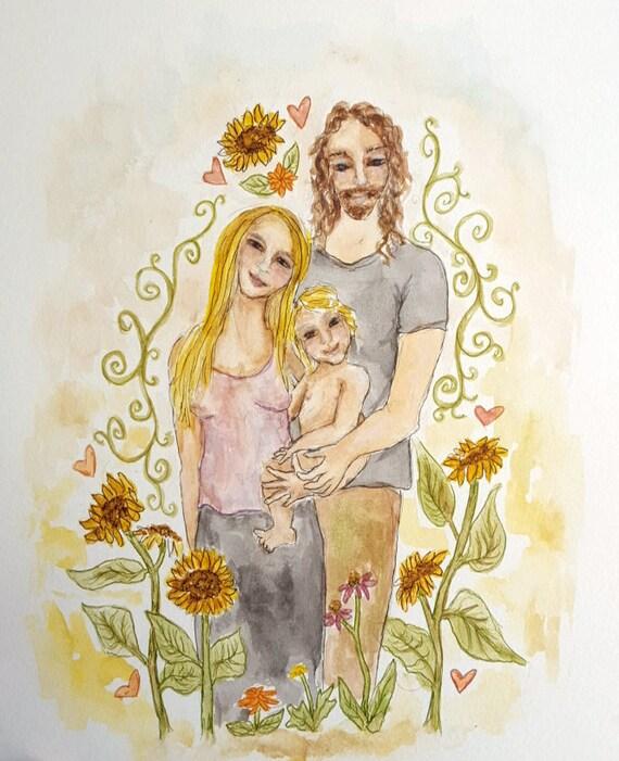 Illustrated Family Portrait Custom Watercolor