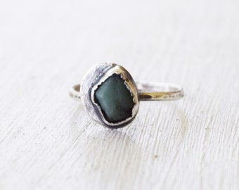 Amazonite and Sterling Silver - Size 5.75 - Rustic Gem - Gemstone Ring - Blue Green Stone - Rough Gemstone - Unique OOAK - One of a Kind