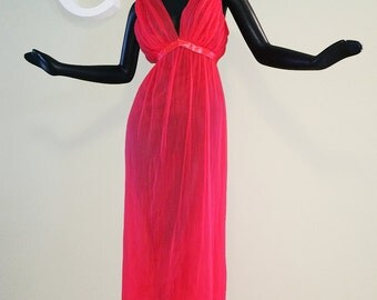 Vintage 60s NEON PINK Nightie! 1960s Rockabilly Burlesque Sexy Backless Maxi Night Gown Sheer See Through Fully Lined Micro Pleated Lounger