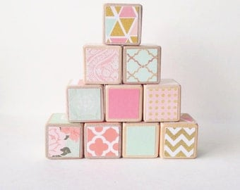 Coral, Mint, and Gold nursery decor. toy. Wooden baby blocks. Pink. Elegant / Mod nursery decoration. Baby shower GIFT.