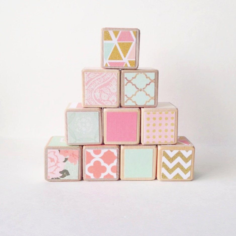 Coral Mint And Gold Nursery Decor Toy Wooden Baby By Miabooo