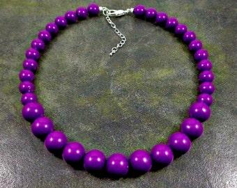Statement Necklace, Purple, Chunky Necklace, Purple Bead Necklace, Beaded, Round Bead Necklace, Purple Necklace, Strand Necklace