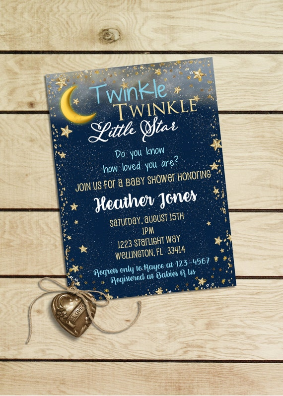 Twinkle Twinkle Little Star Invitation Boy Blue and Gold Glitter Invitation Baby Shower Invite