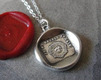 I Never Retreat - Sun wax seal necklace - I won't back down - French wax seal jewelry in fine silver