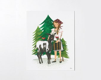 Grandma's goat - 8x10 art print