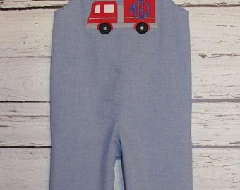 Boys Shortall Longall Monogram Firetruck Applique Birthday Jon Jon Romper First Birthday Outfit
