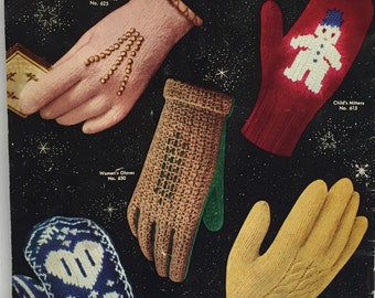 Vintage Knitting Pattern Book  Mitten Pattern How to Book Gloves and Mittens to Knit and Crochet