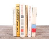 Old Books Vintage Books / Decorative Books / Antique Books / Vintage Mixed Book Set / White Yellow Books / Books by Color / Books for Decor