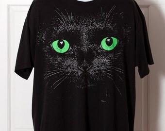 Vintage 80s Cat Face Tshirt - black green eyes - XL