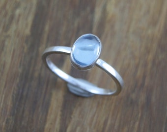 Blue Topaz Stacking Ring hand Made in Sterling Silver