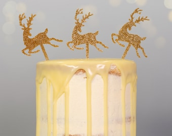Gold Glitter Christmas Reindeer Cake Topper or Food Picks - Pack of 3