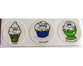Vintage CTP Scratch and Sniff Vanilla Ice Cream and Cupcake Sticker Strip - 80's Ice Cream Cone Cupcake Bean
