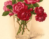 Red Roses in Glass Antique French Postcard Chromolithograph Chromo Post Card from Vintage Paper Attic