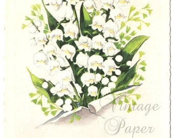 Lily of the Valley Vintage French Postcard Post Card from Vintage Paper Attic