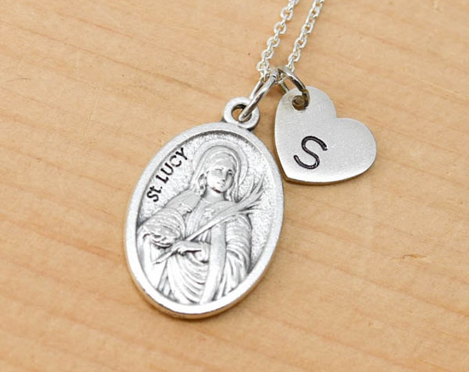 St Lucy Necklace, St Lucy Charm, Pendant, Initial Necklace, Personalized Necklace, Sterling Silver, Heart Charm Necklace, Bridesmaid Gift