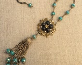 Long Vintage Necklace 1960s Assemblage Coro Brooch Necklace Gold, Black Turquoise
