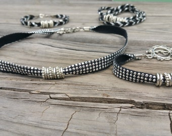 Pretty silver and black fabric bling choker