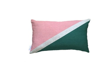 Flag cushion in blush & Forest green linen cushion cover