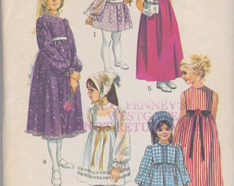 1970 Sweet Mod Empire Waist Dress for Girls Vintage Pattern, Simplicity 9133, Ribbons, Bows, Ruffles, Lace, Mini Midi Maxi Granny Dress
