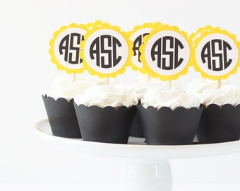 Monogram Cupcake Toppers Black and Yellow Birthday Party Letter Cupcake Topper Monogram Party Supplies Yellow Cake Topper Yellow and Black