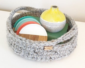 Crochet Basket / Crochet Tray / Storage Basket with Handles / Home Decor / Crochet Serving Tray / Easter Basket