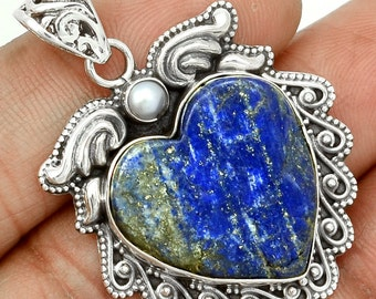 Heart Lapis & Pearl Sterling Silver Pendant