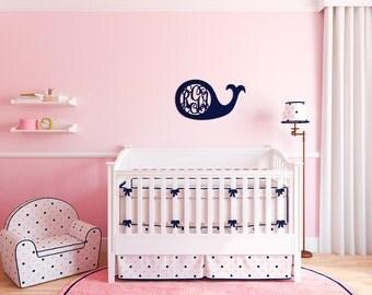 """WHALE Door Hanger - Custom Monogram Door Hanger - Nautical Nursery Decor - Mantle Decor - Unfinished or Painted - 18"""" Size"""