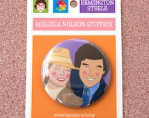 "Remington Steele & Laura Holt Mirror or Pin Back Button print of original gouache painting 2.25"" Pierce Brosnan Stephanie Zimbalist"