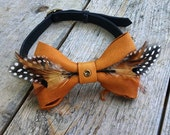 Reserved Custom Listing | Leather Feather Bow Tie | Wedding Bow Tie