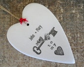 Personalized Valentine gift Key To My Heart boyfriend girlfriend name  couple anniversary rustic Valentine's Day home decor clay gift tag