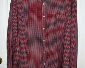 Vintage Men's Red & Navy Plaid Shirt by Izod 3XL Only 8 USD