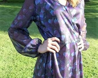 Vintage 1970s Ladies Black Floral Print Dress by Lady Carol Large Only 10 USD