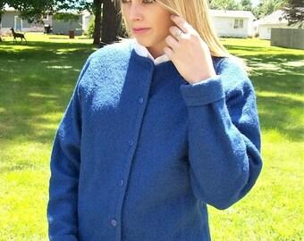 Vintage 80s Ladies Blue Wool Cardigan Sweater by Pendleton Medium Only 20 USD