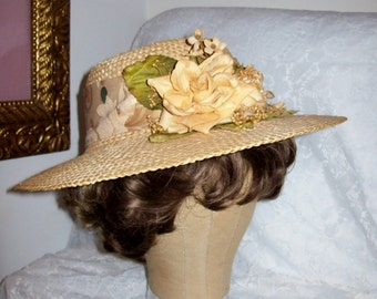 Vintage Ladies Woven Straw Wide Brim Sun Hat w/ Peach Roses by Cappelli Straworld Only 10 USD