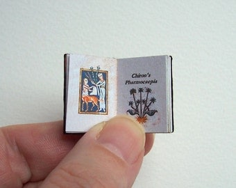 Dolls' House Miniature Book - Chiron's Pharmocaepia (leather bound)
