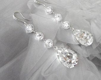Swarovski crystal earrings ~ Elegant ~ CZ's ~ Sterling silver ear wires ~ Brides earrings ~ Sparkly, Wedding earrings ~ SHARP ~ SOPHIA