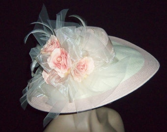 Womens Pink Hat - Cream and Pink Wide Brim Hat - Kentucky Derby Hat - Garden Party Hat or Victorian Tea Party