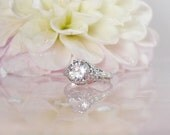 Antique Style Ring, Antique Style Engagement Ring, Two Carat Engagement Ring, Silver Antique Style Ring, Herkimer Diamond, Sterling Silver