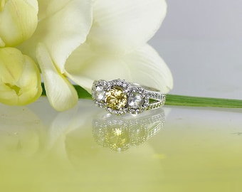 Three Stone Sterling Ring, Three Stone Ring, Yellow Beryl With Herkimer Diamond Accents, Halo Design