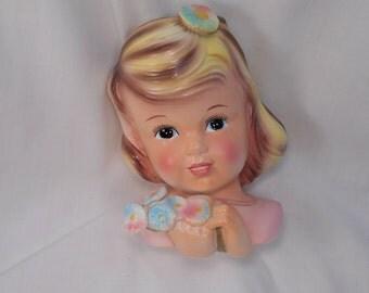 Vintage Blonde Girl Head Vase Beautiful Colors