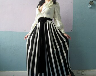 Vtg 50s 60s Amazing Striped Skirt Dress