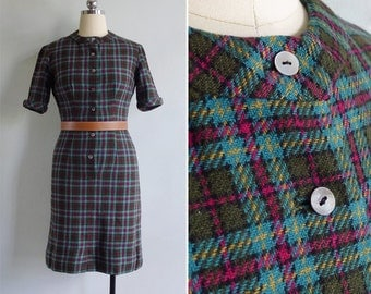 15% SALE (Code In Shop) - Vintage 60's 'Miss Penny' Wool Plaid Pencil Dress XXS or XS
