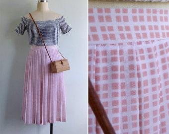 Vintage 80's 'HDB Blocks' Geometric Print Pleated Skirt XS or S