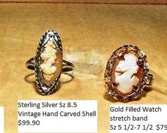 1 Ring, Vintage  Hand Carved CAMEO on Stretchable Link Watch Band Size 5 1/2 to 7 1/2.   Small Carving w/ Flowers Cameo. Only 79.90