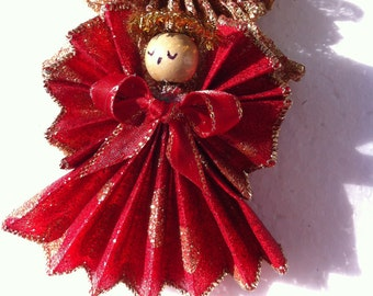 Angel,Handmade,Gold and Red  Ornament