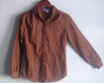 Vintage 70s Shirt Chocolate Brown Ten-Four Size Small
