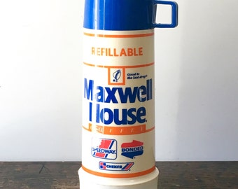 Vintage Maxwell House Speedway Advertising Thermos with Cup