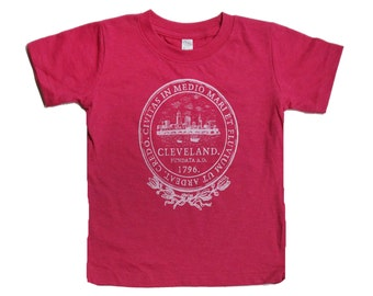 Youth and Toddler Tee - Cleveland 'City Seal' on Vintage Hot Pink