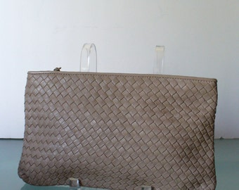 Vintage Ganson Woven Taupe Leather Clutch Purse