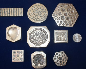 Vintage Brass Paperweight Collection With Designs
